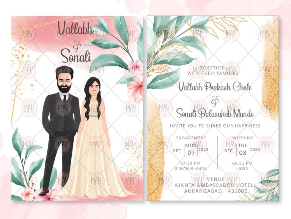 Caricature Rustic Wedding Invitations