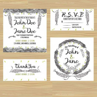 collection-of-wedding-cards-with-hand-dr