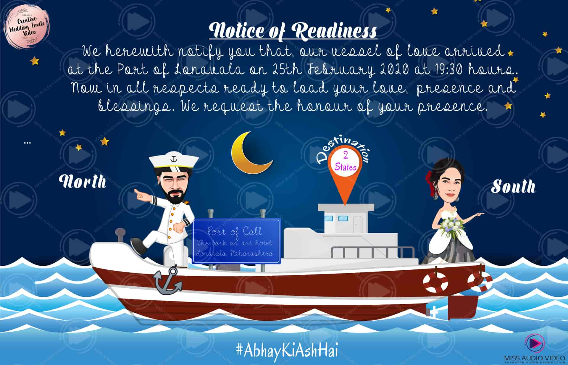 Naval Theme Caricature Marriage Invitation