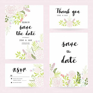 White wedding Cards With Flowers Collection