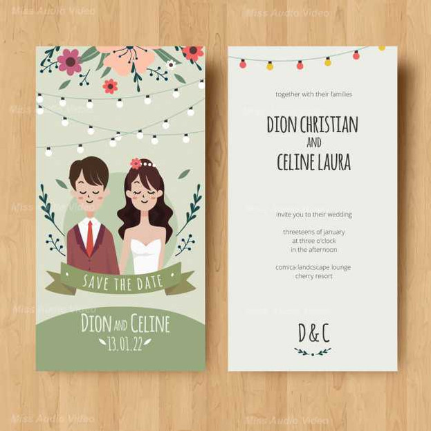 wedding Card Invitation With Couple