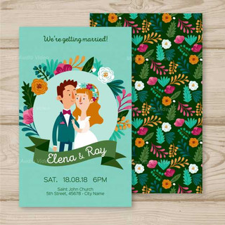 wedding-invitation-with-cute-couples_23-