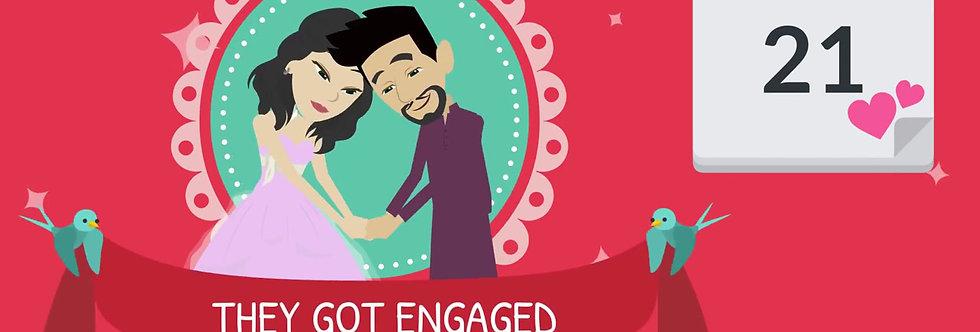 Elegant Custom Made Cartoon Wedding Invitations | Cartoon Animated Video Wedding