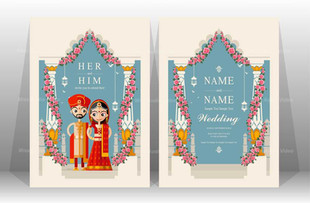 Wedding Card Front & Back View