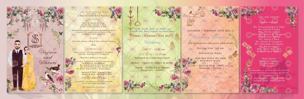 Traditional Caricature Wedding Invitation Card