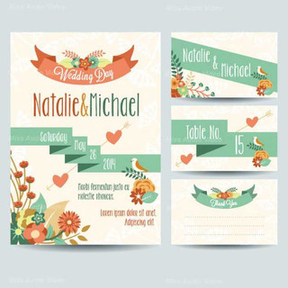 wedding-invitations-with-ribbon-and-flow