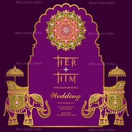 Elephant Theme Purple Wedding Card