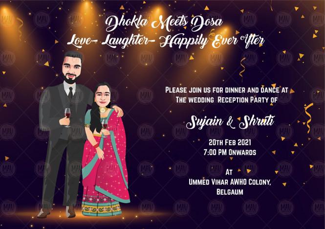 Party Theme Caricature Reception Invitation