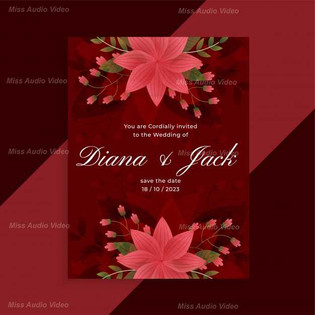 lovely-red-wedding-invitation-floral-car