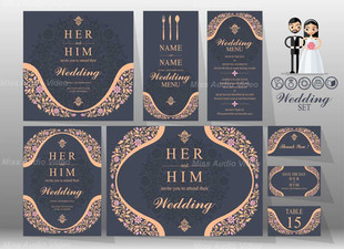 Set Of Wedding Card In Black