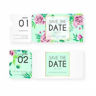 Vintage Tickets For Wedding Invitation