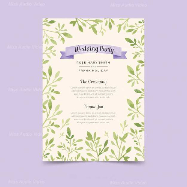 Lovely Wedding Program With Watercolor