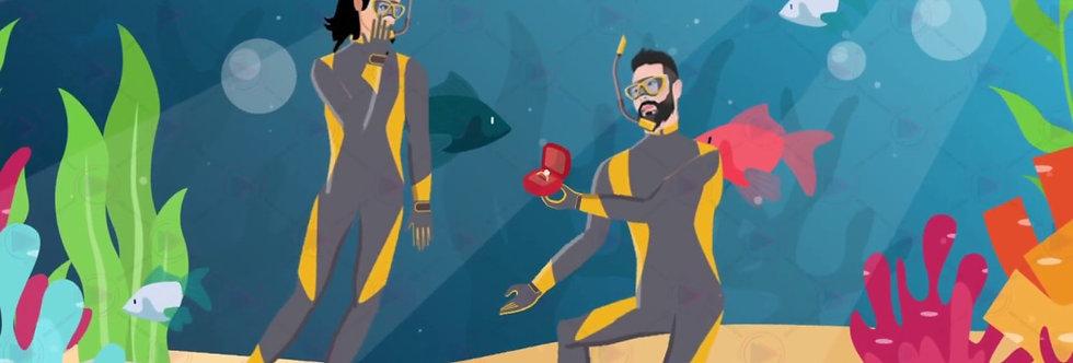 Caricature Love Story Wedding invitations  | Cartoon Animated Video Wedding Inv