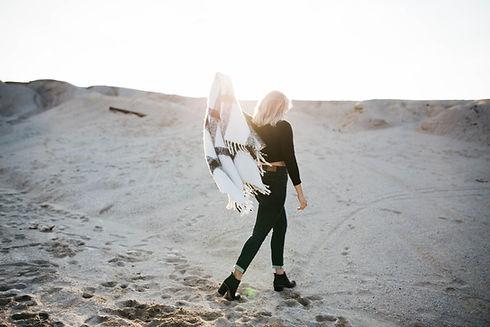 Girl Walking in Desert