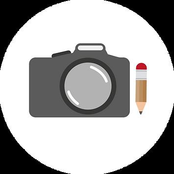 Ikon - kamera och penna