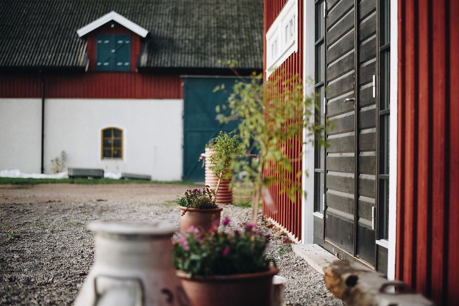 Svart dörr på röd byggnad. Med en vit lada bakom.