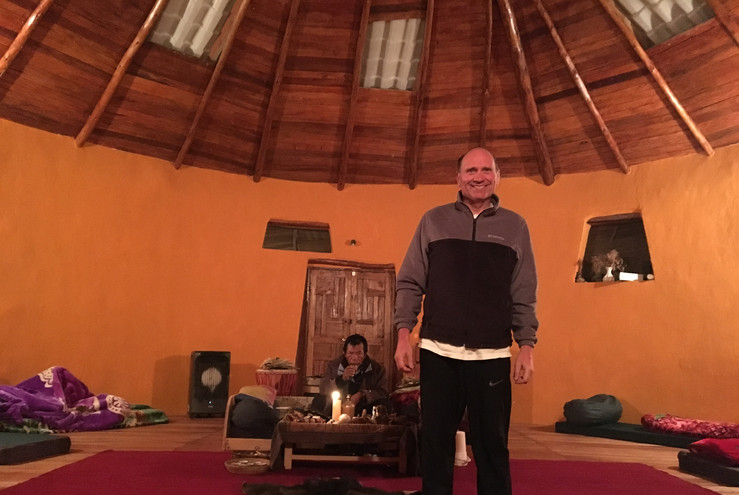 With Shaman Carlos in his temple, Cusco,
