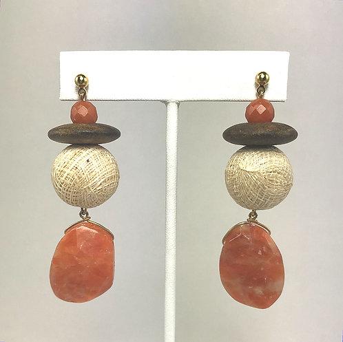Carnelian Basket Weave Earrings