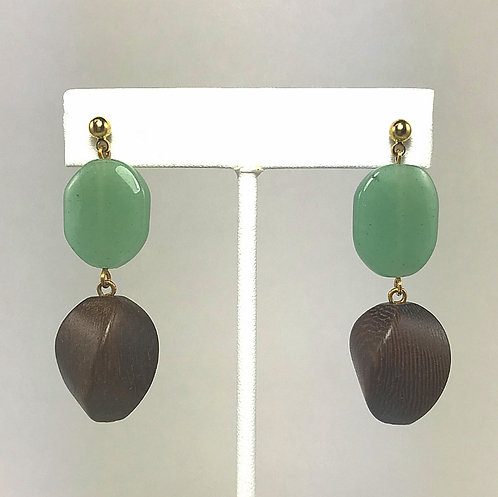 Green Aventurine & Wood Earrings