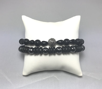 Ornate Onyx & Hematite Bracelet Set