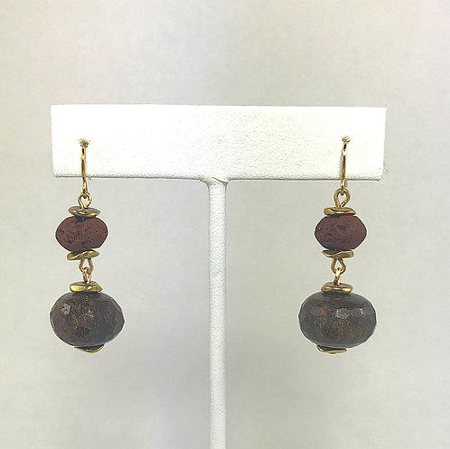 Red Lava & Tiger Eye Earrings