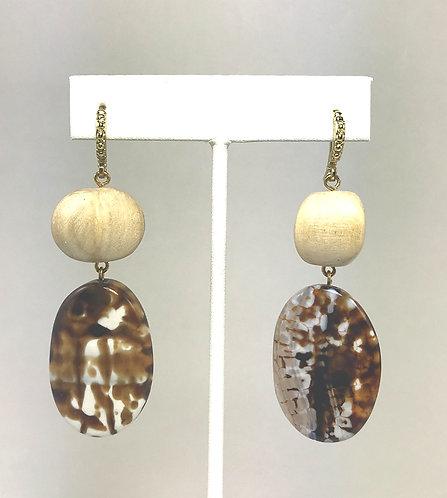 Agate & Wood Oval Earrings