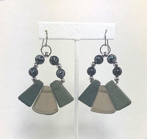 Smokey Glass Fan Earrings
