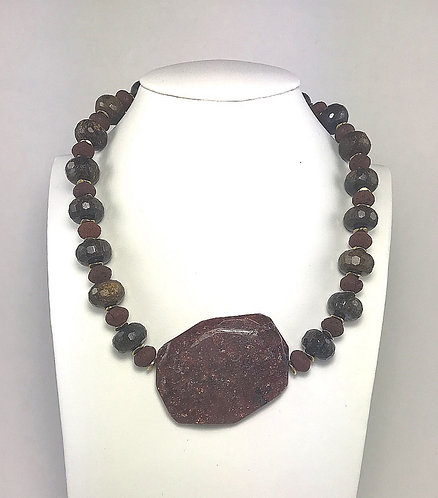 Red Lava & Tiger Eye Statement Necklace