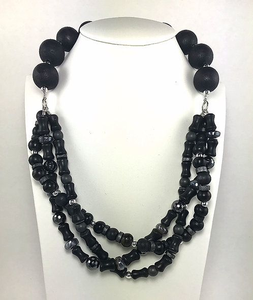 Hematite & Blackstone Braided Necklace