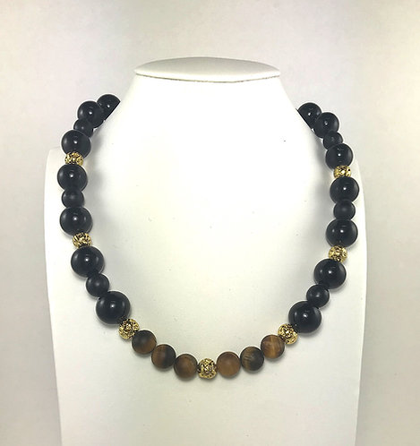 Tiger Eye & Black Jade Necklace