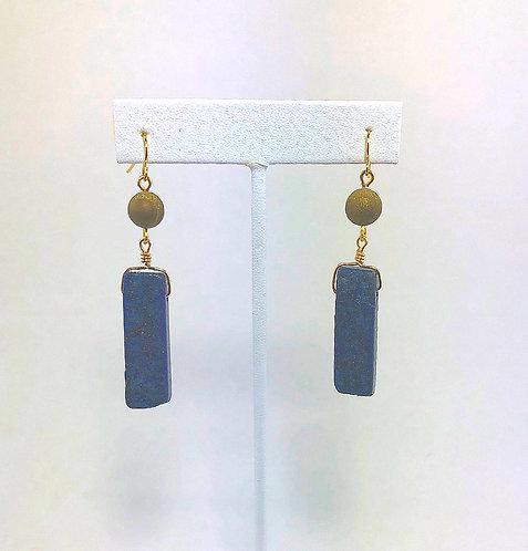 Lapis Block Drop Earrings