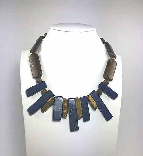 Lapis Block Fan Necklace