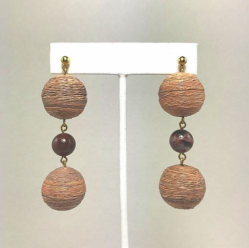 Round Agate Basket Weave Earrings