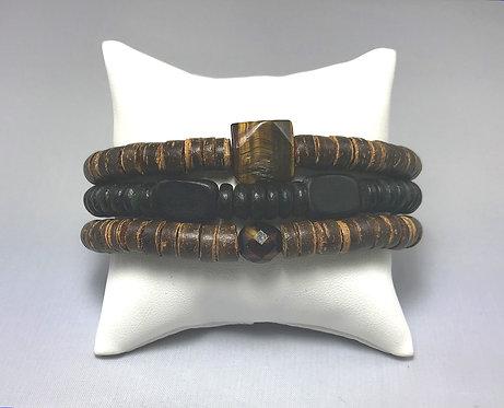 Tiger Eye & Wood Bracelet Set