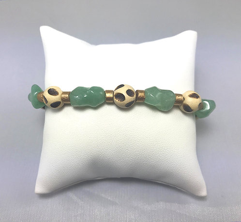 Green Aventurine & Wood Bracelet