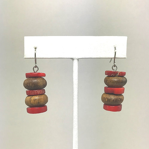 Bamboo Coral & Wood Stacked Earrings