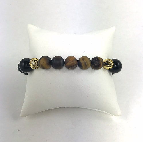 Tiger Eye & Black Jade Bracelet
