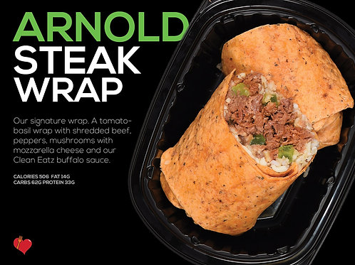 The Arnold Steak Wrap (Cal 506 F 14g/C 62g/P 33g)