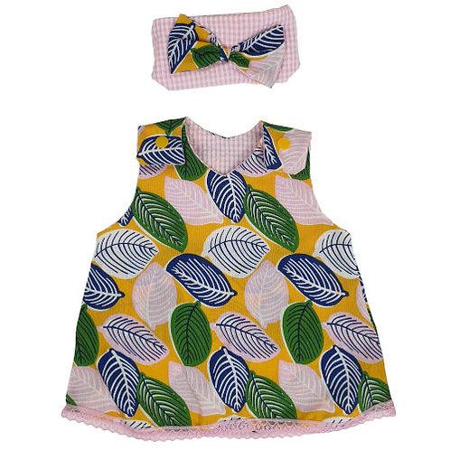 Mustard Leafy Dress with Headband
