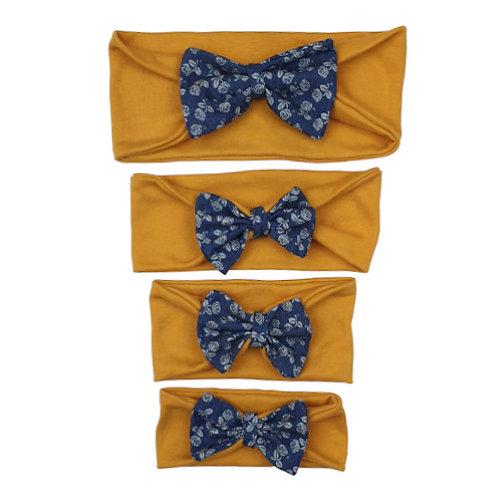 Mustard/Navy Cotton Headband
