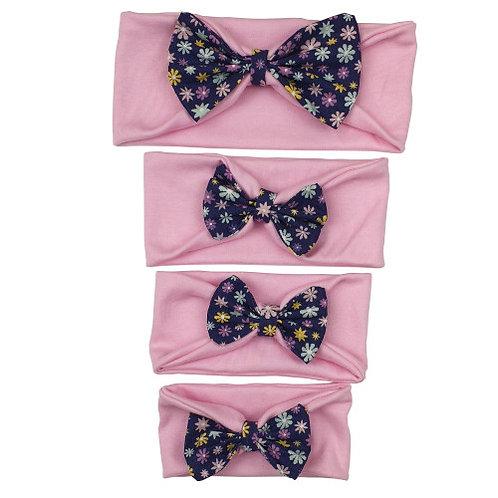 Pink/Dark Blue Cotton Headband