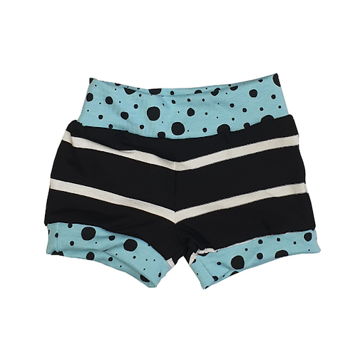 Blue Dots Black Strips Shorts