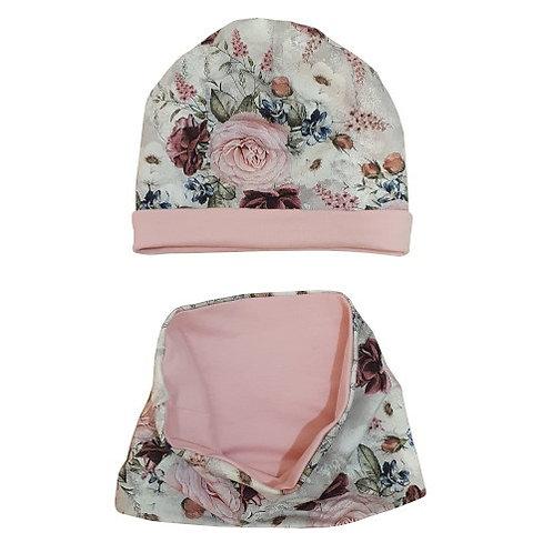 Floral Pink Hat & Snood Set