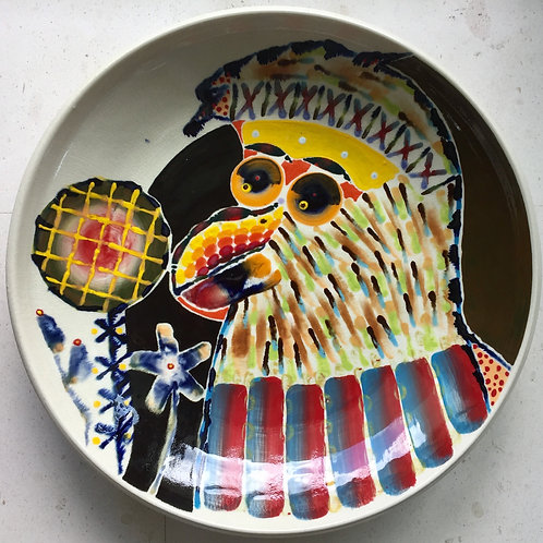 American Eagle, porcelain plate, 20 inches diameter, 2017 fired.