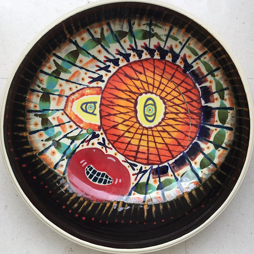 Headache, porcelain plate, 20 inches diameter, 2017 fired.