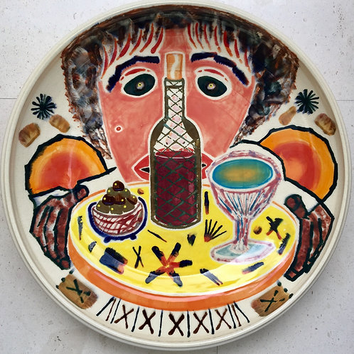The Waiter, porcelain plate, 20 inches diameter, 2017 fired