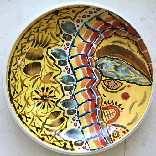 The death and the moon, porcelain plate, 20 inches diameter, 2017 fired.