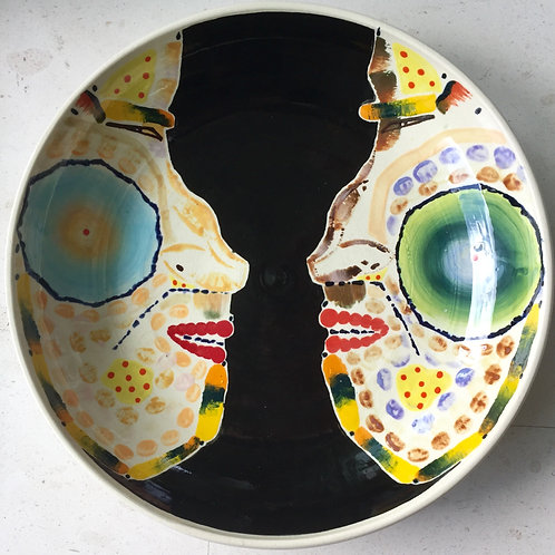 Sumo, porcelain plate, 20 inches diameter, 2017 fired.
