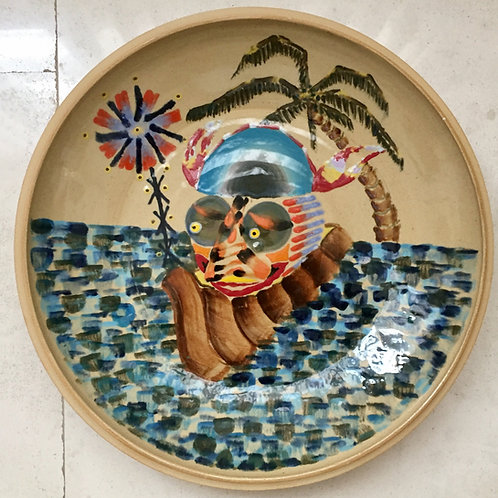 Floridian Caronte, porcelain plate, 20 inches diameter, 2017 fired.