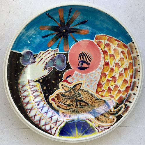 My Mother in law and my Dog, porcelain plate, 20 inches diameter, 2017 fired.